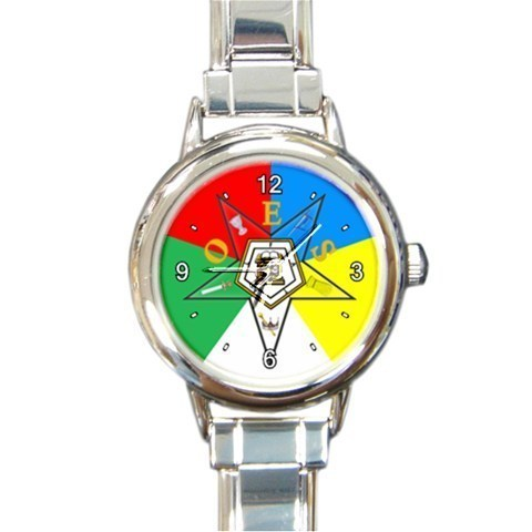 Ladies Round Italian Charm Watch OES Order Of The Eastern Star Coloured 29283920