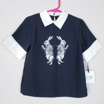 Victoria Beckham for Target Girls Collar Top Black Rabbit Size XS #C - $12.86