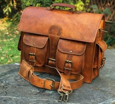 Men's Real Goat Leather Vintage Brown Messenger Shoulder Laptop Bag Brie... - $40.00