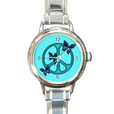 Ladies Round Italian Charm Watch Peaceful Blue Butterflies Insect Gift 30161917