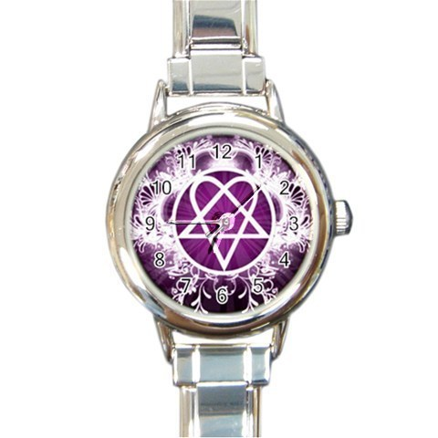 Ladies Round Italian Charm Watch Pink Heartagram Symbol  Gift model 26424524