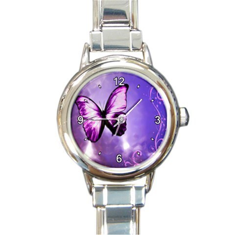 Ladies Round Italian Charm Watch Purple Butterfly Fly Gift model  26025266