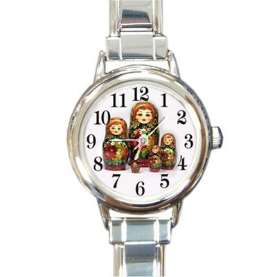 Ladies Round Italian Charm Watch Russian Nesting Dolls Set Gift model 30210295