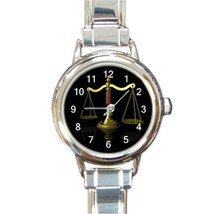 Ladies Round Italian Charm Watch Scales Of Justice Attorney Legal Gift 3... - $11.99