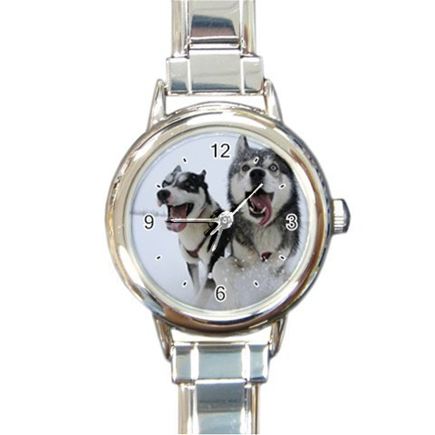 Ladies Round Italian Charm Watch Siberian Husky Dogs Pet Gift model  26438614