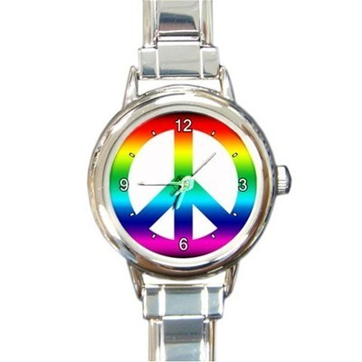 Ladies Round Italian Charm Watch Tie-Dye Rainbow Peace Sign Gift model 19475924