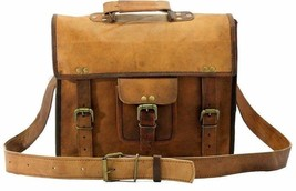 "15"" New Men's Vintage Brown Leather Messenger Shoulder Laptop Briefcase Bag - $47.48"