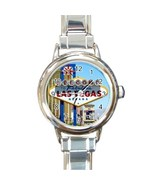 Ladies Round Italian Charm Watch Welcome Las Vegas Game Gift model 30179235 - £9.69 GBP