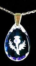 Hielo Azul Lágrima Thistle Colgante De Cristal - $42.49