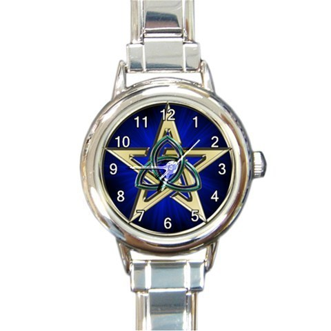 Ladies Round Italian Charm Watch Wicca Triquetra Pentagram Gift model 30161878
