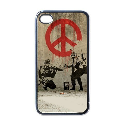 NEW iPhone 4 Hard Black Case Cover Banksy Soldiers Painting Peace Sign 32536546