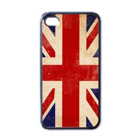 NEW iPhone 4 Hard Black Case Cover British Union Jack Flag  Gift 32856578