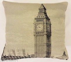"STUNNING BIG BEN LONDON ENGLAND TAPESTRY SILVER COTTON THICK 18"" CUSHION... - $12.90"