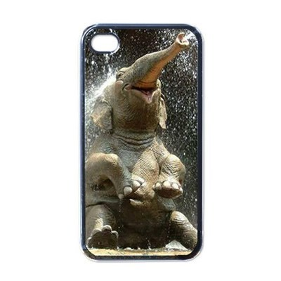 NEW iPhone 4 Hard Black Case Cover Happy Elephant Gift 32822380