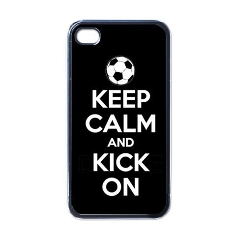 NEW iPhone 4 Hard Black Case Cover Keep Calm And Kick On Gift 32823469