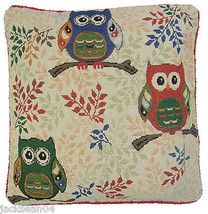 "FILLED GREEN RED BEIGE OWLS OWL BIRDS TAPESTRY VELVET THICK CUSHION 18"" ... - $10.32"