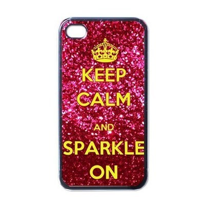 NEW iPhone 4 Hard Black Case Cover Keep Calm & Sparkle On Gold Gift 32821520