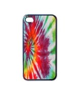 NEW iPhone 4 Hard Black Case Cover Rainbow Tie Dye Gift 32097076 - $17.99