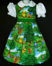 NEW Licensed Winnie The Pooh/Piglet Green Scenic Dress Custom Sz 12M-14Yrs - $59.98