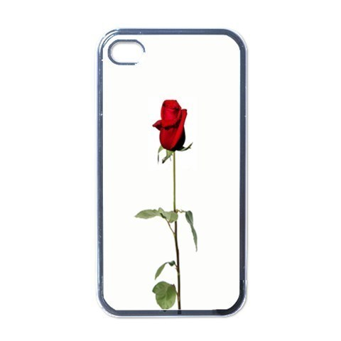 NEW iPhone 4 Hard Black Case Cover Single Red Rose On White  Gift 32096520