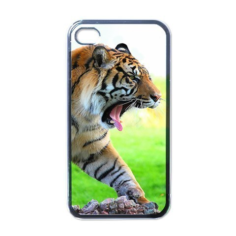 NEW iPhone 4 Hard Black Case Cover Tiger Roaring In Jungle  Gift 32096518