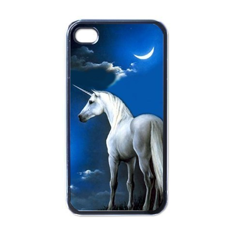 NEW iPhone 4 Hard Black Case Cover Unicorn And Moon Gift 32096513