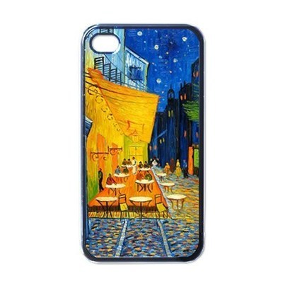 NEW iPhone 4 Hard Black Case Cover Van Gogh Cafe Terrace At Night Gift 32097577