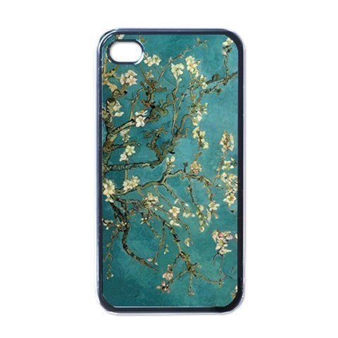 NEW iPhone 4 Hard Black Case Cover Van Gogh Flowering Tree Gift 32096507