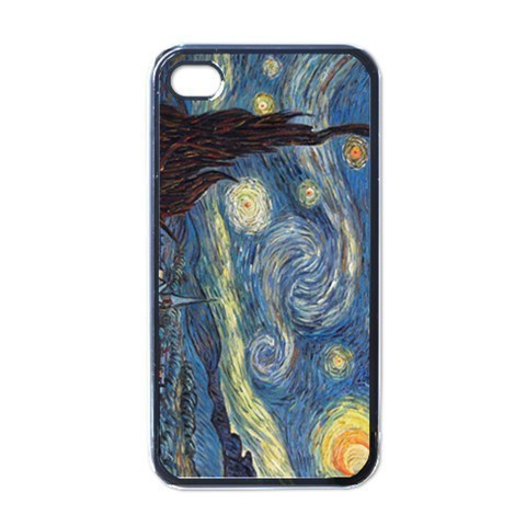 NEW iPhone 4 Hard Black Case Cover Van Gogh Starry Night Gift 32096509