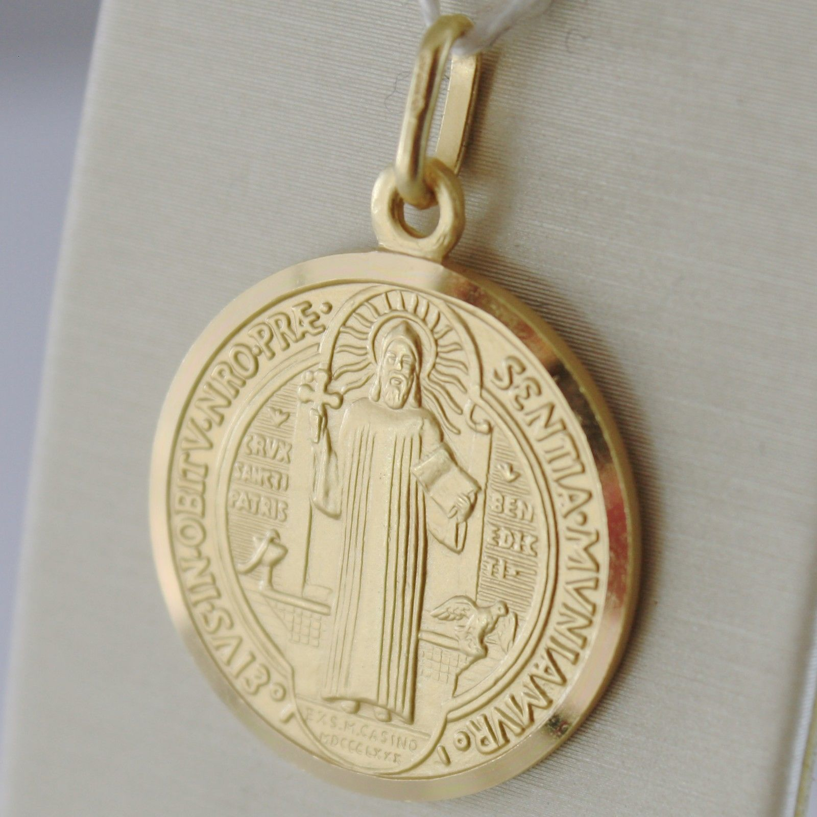 SOLID 18K YELLOW GOLD ST SAINT BENEDICT PROTECTION MEDAL CROSS, MADE IN ITALY