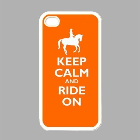 NEW iPhone 4 Hard White Case Cover Keep Calm And Ride On Orange Gift 34860481