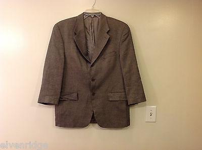 Chaps Ralph Lauren Men's Size 42 R Blazer Jacket Silk-Wool Brown Herringbone