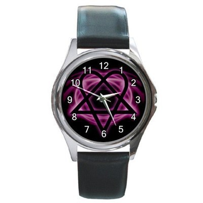 Pink Heartagram Unisex Round Metal Watch Gift model 26495066