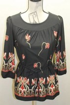 New Lloyd Williams Women Blouse Tunic Style Lace Black Floral Design Medium - $26.98
