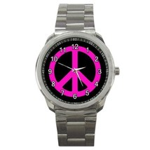 Pink Peace Sign Sport Metal Watch Gift model 32049448 - $15.99