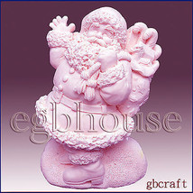 Joyful Santa - Detail of high relief sculpture,silicone mold, soap mold - $27.72