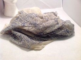 New Mad About Style Scarf Tan Blue Sheer Paisley image 2