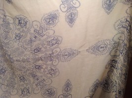 New Mad About Style Scarf Tan Blue Sheer Paisley image 3