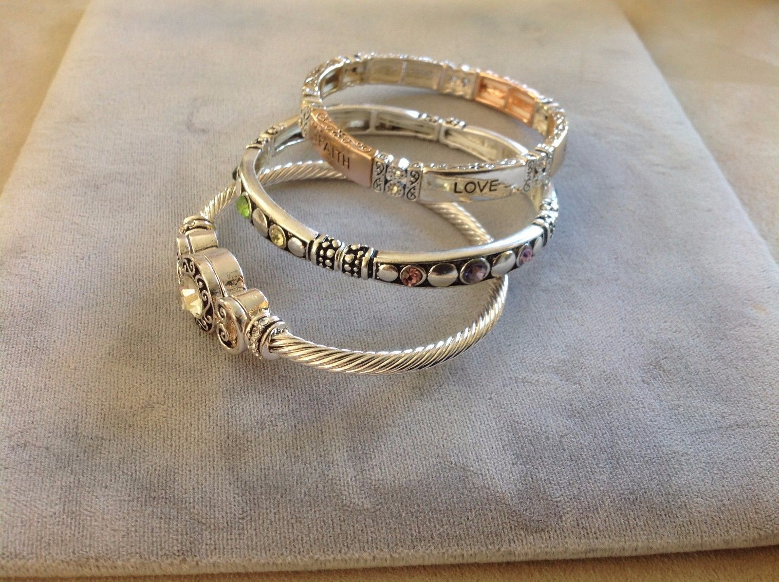 New Silver Toned Set Bracelets Faith Hope Love Gemstone Magnetic Stretch Colors