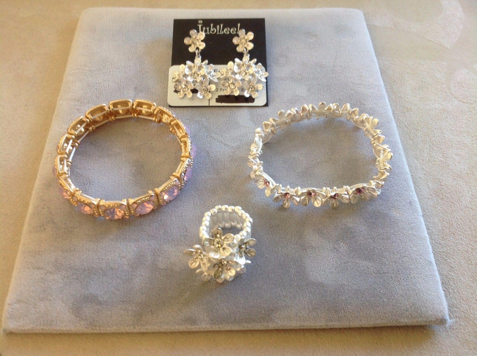 New Jubilee! Floral Silver Toned Jewelry Set Ring Earrings Bracelet Pink