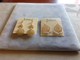 New Jubilee! Decorative Gold Toned Earrings Gemstones and Pearls