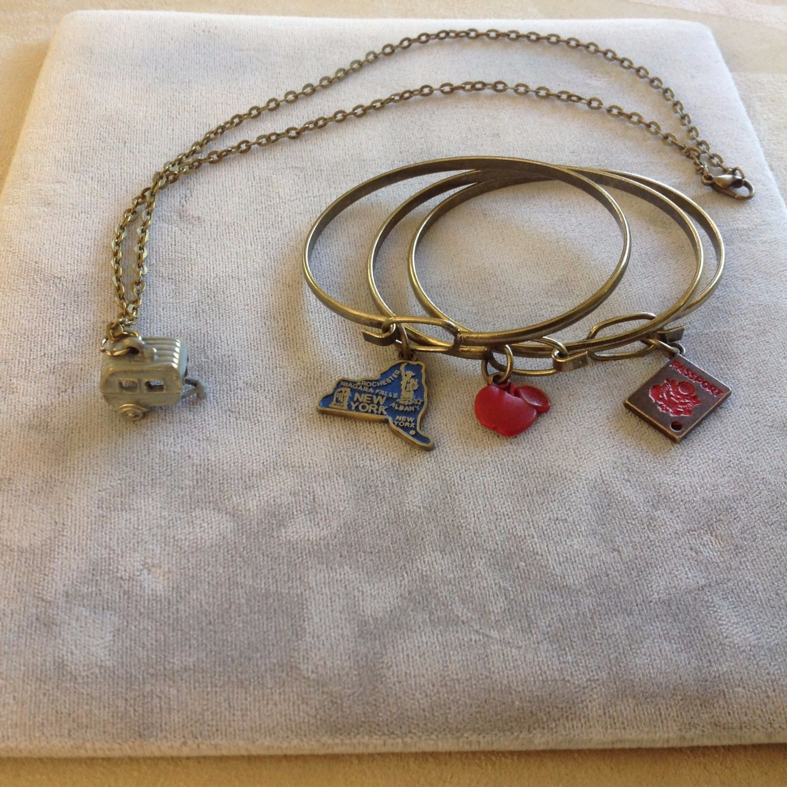 New Travel Jewelry Collection Necklace Camper Charm Bracelets Passport New York