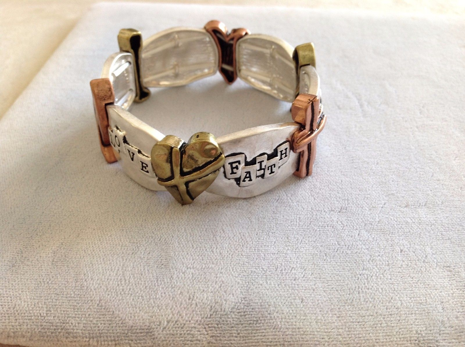 New Bracelet Silver Toned Adorned Hope Love Faith Bronze Hearts Crosses Fish
