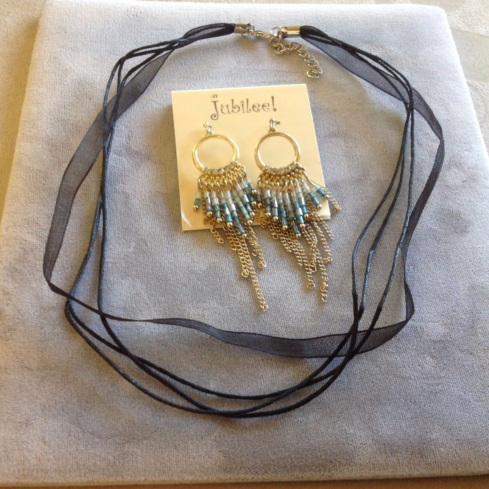 New Cloth and String Black Necklace and Jubilee! Gold Toned Earrings Blue Bead