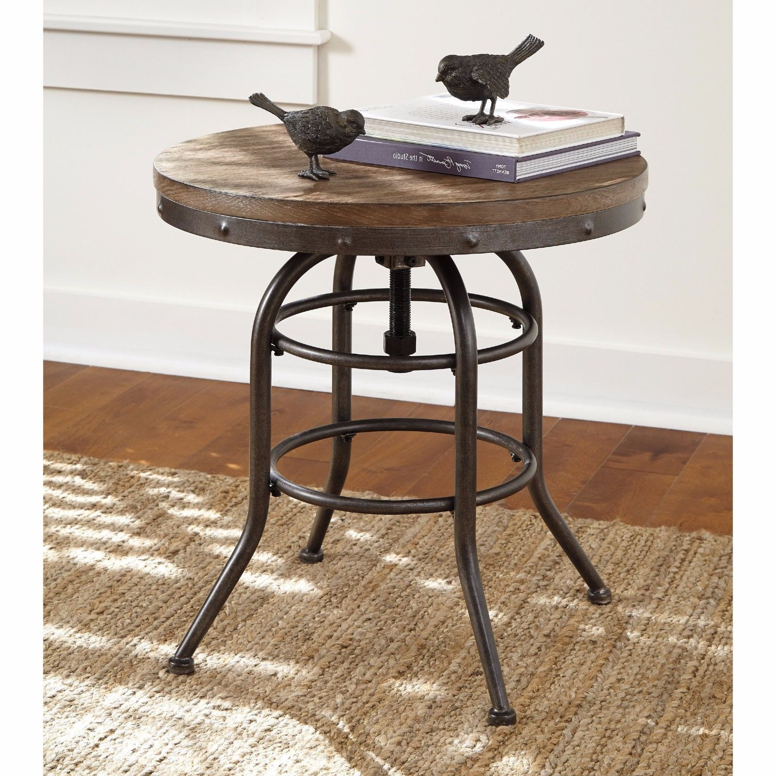 Rustic industrial end table adjustable top side metal new tables