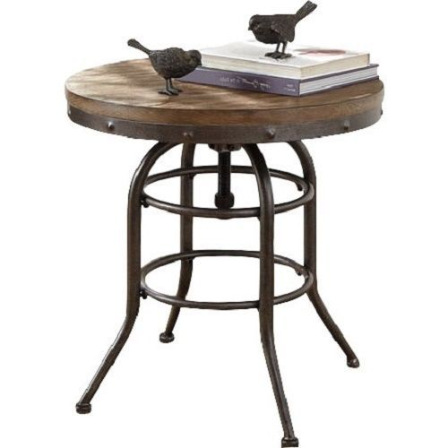 industrial round end table vintage rustic industrial end table adjustable top 507