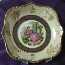 Vintage COURTING COUPLE Decorative Iridescent & Scalloped Candy Bowl Dis... - $14.54