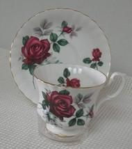 Royal Albert FOOTED TEA CUP & SAUCER DEEP RED ROSES Scalloped Bone China... - $16.48