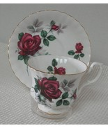 Royal Albert FOOTED TEA CUP & SAUCER DEEP RED ROSES Scalloped Bone China... - $16.48