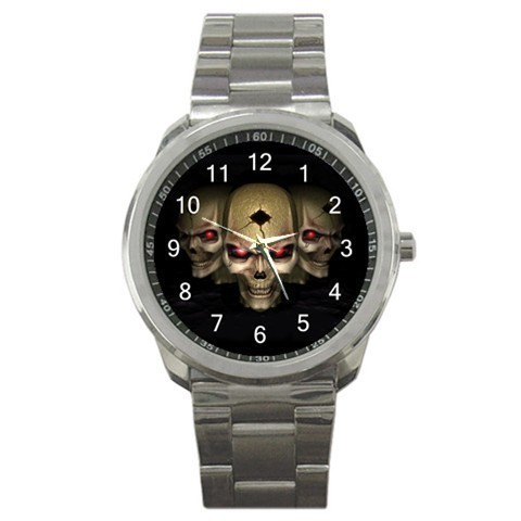 Three Skull Skeleton Goth Sport Metal Watch Gift model 26487378